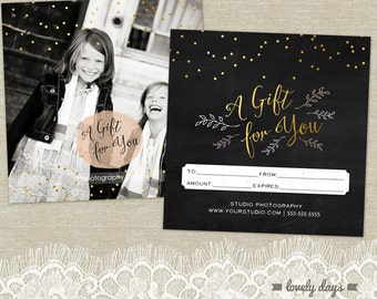 Gift Certificate Template for Photographers INSTANT DOWNLOAD