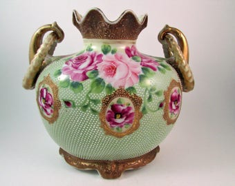 Antique Hand Painted Nippon Porcelain Vase with Ringed Handles Pink Roses Pin Dot Pattern and Gold Gilt Made in Japan