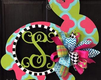 Monogram Bunny, Easter Door Hanger, Easter Wreath