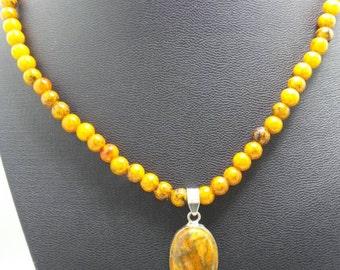 Handmade Orange Mosaic Turquoise necklace with pendant.