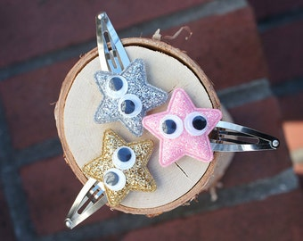 Gold, Silver, Pink Glitter Star on Snap Clips (Set of 3) - for all ages, under 10