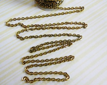 Brass Chain Cable 3mm Flat 5 ft. jewelry supplies