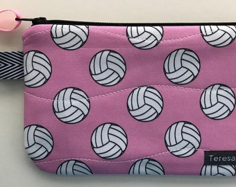 X-Small Pink Volleyball Zip Pouch