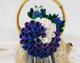 Multicolor Chirimen Blue Purple White Kiku Chrysanthemum Tsumami Kanzashi Hair Pin With Bira Bira Leaves Buds Kimono Accessory
