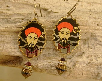 Warrior - Vintage Recycled Hand Cut Tin Rhinestones Earrings Oriental Asian Design - Upcycled Repurposed Jewelry 10 Year Anniversary Gift