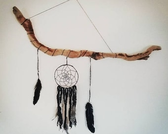 Driftwood branch decorated dream catcher