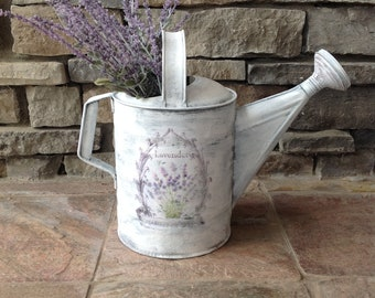 Vintage French watering can, Vintage metal watering can, Chalk-painted watering can, French farmhouse decor, French country decor