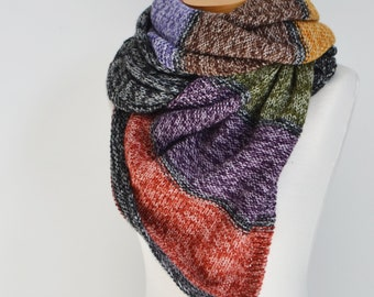 Knitted shawl, striped,  P470
