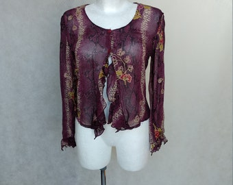 Vintage Snake Pattern Top, Retro Purple Blouse, Small Grunge Blouse, Violet Polyester Blouse, Floral Blouse, Long Sleeve Shirt, Reptile Top