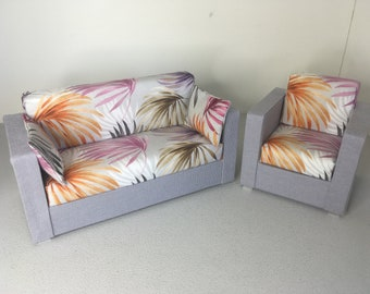 Modern Dollhouse Miniature Coservatoy Set Sofa Couch 1:12 Scale