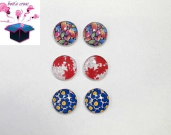 6 glass cabochons 18 mm as pictured lot number 75