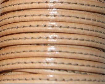 Leather Strip 5 mm flat natural with stitching, sold by 20 cm