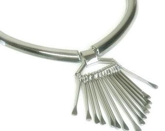 Rhodium Fringe Choker - Paddle Necklace - Statement Jewelry - Collar - Rhodium Paddle Choker Necklace - Boho - Necklace Set - Trending