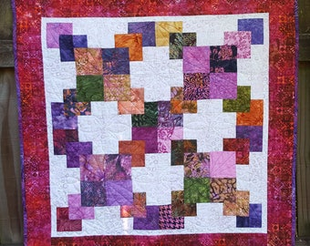 """Modern Square Quilt, 35"""" x 36"""" Lap Quilt, Picnic Blanket, Quilted Throw"""