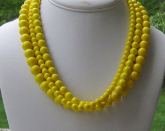 Chunky Yellow Necklace, Bright Yellow Jewelry, Gifts for Her, Yellow Statement Necklace, Lemon Yellow Multistrand Necklace, Just Ducky