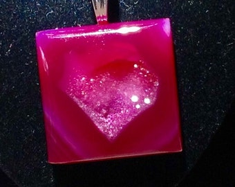 Heart Shaped Necklace Red Druzy Agate Natural Formation