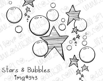 INSTANT DOWNLOAD Hand Drawn Stars and Bubbles Digital Stamp  No.343 by Lizzy Love