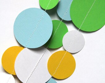 Green, light blue, yellow & white paper circle garland (15 feet) - READY TO SHIP
