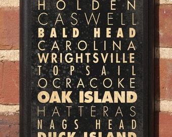 North Carolina NC Beaches List Wall Art Sign Plaque Gift Present hatteras top sail bald head ocean isle calabash oak island duck Classic