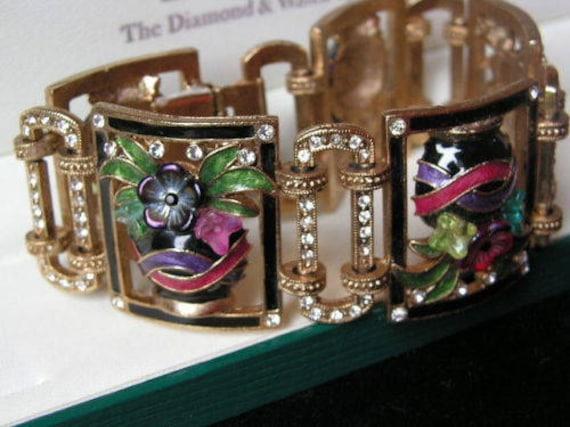 Lovely vintage Sweet Romance USA Deco style gold enamel diamante bracelet