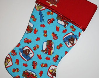 Curious George Christmas Stocking, Curious George Stocking, Quilted Stocking, Stocking, Curious George, Ready to Ship