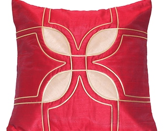 Christmas Decor Deep Red Throw Pillow Cover Pillow Red Accent Pillow Bed Pillow Home Decor Red Gold Housewarming Gift for Her Birthday Gift