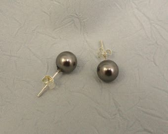 Dark Grey Glass Pearls With Sterling Silver Posts