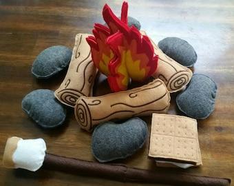 Felt Campfire - photography prop - Felt Bonfire Playset - kids camping - play campfire - felt fire - campfire play set - felt food - pretend