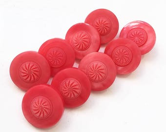 watermelon pink red shank buttons with protruding carved pinwheel new stock buttons--matching lot of 9
