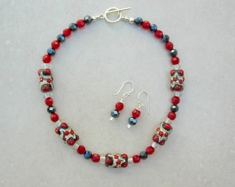 Lovely Red/Black/White Handcrafted Lampwork Glass Beads, Faceted Black & Red Beads, Sterling Silver, Choker Necklace Set by SandraDesigns