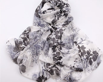 Floral Silk Scarf - Floral Printed Silk Chiffon Scarf - White Silk Scarf with Black Floral Print - AS2015-61