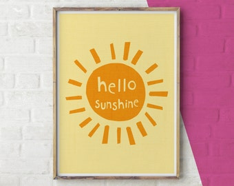 Hello Sunshine Print, Sunshine Wall Art, Printable Wall Art, Digital Download, Sun Illustration, Sunshine Typography, You are my sunshine