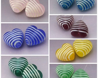 SRA Lampwork Heart Beads Striped Beads Etched Lampwork Frosted Handmade Seaglass Pink Blue Purple Yellow Green Earring Pair Heather Behrendt
