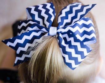 Hair Bow - Navy Chevron Print Pinwheel Hairbow