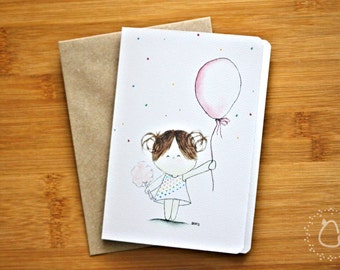 Oh Happy Day Blank Greeting Card - featuring CurlieQ with Red Balloon  with Recycled Kraft Envelope