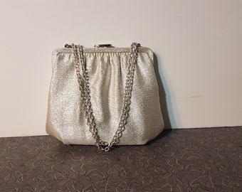 Shiny Silver Handbag 1950's Vintage Formal Bridal Handbag