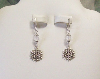 Tibet Silver Snowflake Clear Faceted Czech Glass Clip on or Pierced Earrings 21 Colors Available