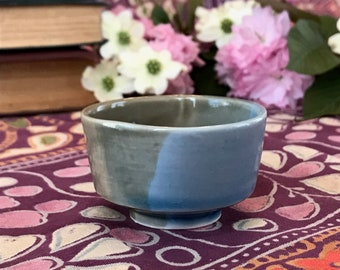 Small Gray and Blue Porcelain Teacup