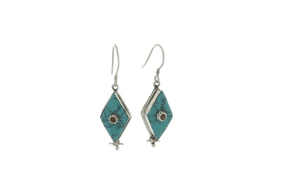 Turquoise Diamond Earrings, Stering Silver Turquoise Earrings, Red Coral Earrings, Ethnic Earrings