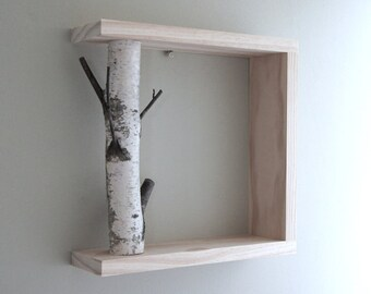 White Birch Forest Wall Art/Shelf - 12x12, birch shelf, wooden shelf, framed birch art, floating shelves, display shelves, shadow box