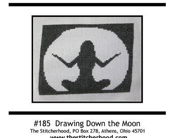 PDF E pattern emailed Wiccan Drawing Down the Moon Cross Stitch Pattern Sampler 185