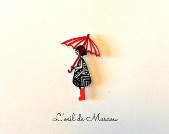 shrink plastic magnet magnet Lady with umbrella