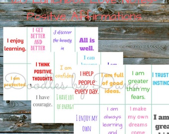 120 Lunchbox Love Notes-Positive Affirmations for Kids-Instant Download- Lunch box Cards