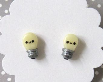 Lightbulb Earrings, Cute Earrings, Glow in Dark, Stud Earrings, Hypoallergenic Posts, Kawaii Stud Earrings, Small Girls Earrings, Fun Studs