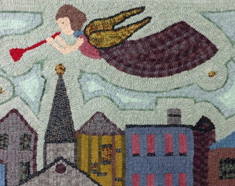 Rug Hooking Angel Rug Hand Hooked with Wool - Folk Art Rug - The Messenger (Free Shipping)