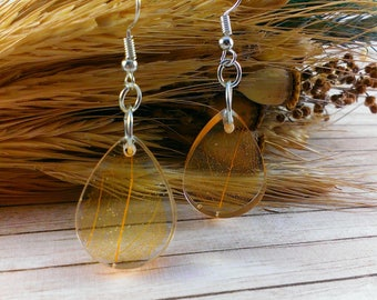 Drop earrings Bridal earrings Gold earrings Gold drops Tangerine fall leaves Leaf jewelry Autumn leaves Gold drop earrings Orange earrings