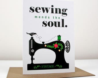Sewing Mends The Soul Card - black vintage sewing machine card
