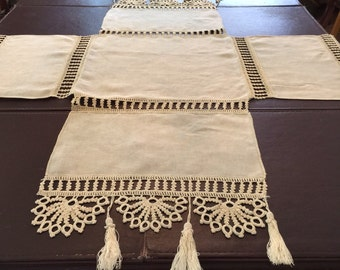 Vintage Linen and Tatted Tablecloth, Cover, Centerpiece, Doily
