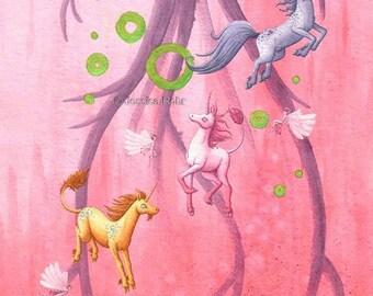Fantasy Art Print- The Right Hemisphere - 8.5x11 or 5x7 Open Edition Print - Fantasy Surreal Unicorn Art