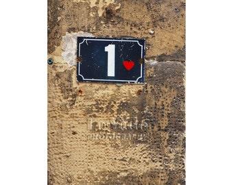 Paris Heart Photo, First Anniversary Gift, Valentine, Paris Street Sign, Travel Photography, Paris Photography